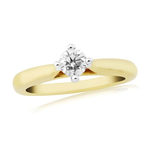 Solitaire Single Stone Four Claw Engagement Ring Yellow Gold 33 Points